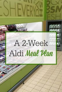 I save so much money on groceries by shopping at Aldi! Check out this two-week Aldi meal plan and save on your family's food budget! #BudgetMeals #BudgetMealPlanning #FrugalMeals