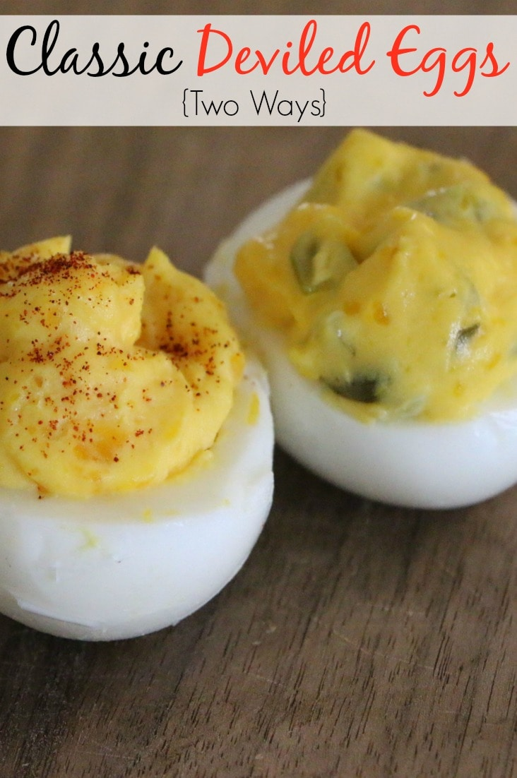 These classic deviled eggs come from two family recipes--my mom's and my husband's moms. They are incredibly easy to whip up, and I hope you will enjoy them!