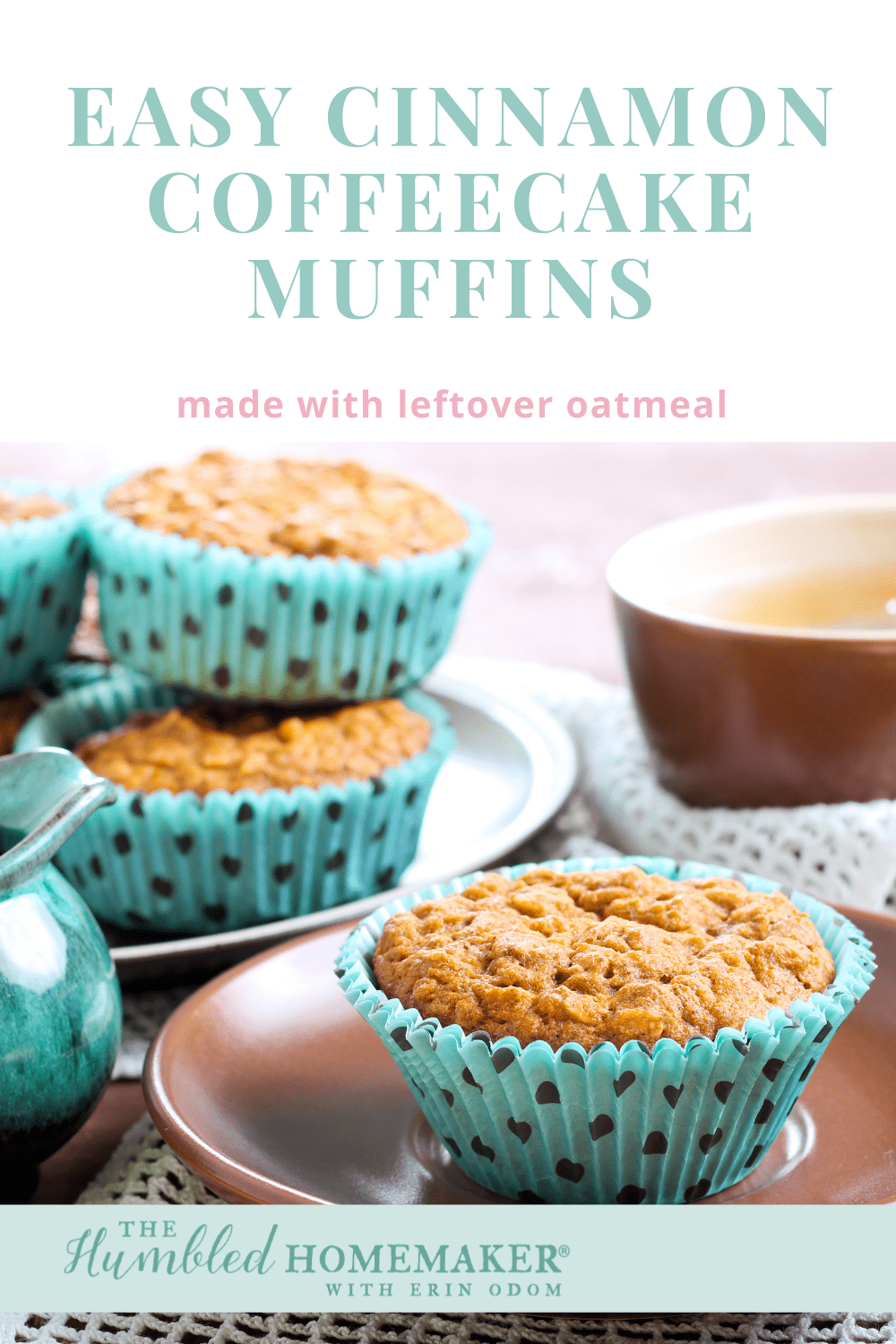 Enjoy a delicious and frugal coffeecake muffin made with a hint of cinnamon. It's a great way to use up leftover oatmeal. Great for breakfast on the go!