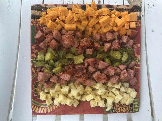 If you're looking for a quick and easy appetizer to take to your next friend or family gathering, then I have the perfect recipe for you! I have partnered with Eckrich Smoked Sausage to bring you a beautiful Smoked Sausage Appetizer Platter. The best part about it was that I was able to incorporate ingredients that I already had in my kitchen, so it was very easy to make. It let me spend less time in the kitchen, and more time spending time with my friends and family, which I think everyone can agree is a great thing!