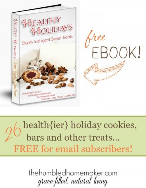 I need good holiday treats that aren't full of nasty ingredients! This free eBook has 26 real food recipes for cookies, bars and other treats!