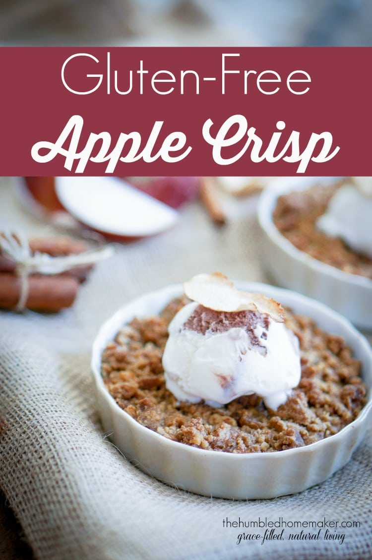 This gluten-free apple crisp will please a crowd--even if the guests aren't gluten-free! It would be the perfect alternative to apple pie on Thanksgiving or Christmas or can be enjoyed all year round!