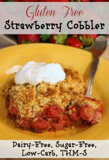 This gluten free strawberry cobbler recipe will guide you in making a dessert that melts in your mouth and leaves you begging for more. Not only is it gluten free but it's also sugar free, dairy free, and a Trim Healthy Mama S!
