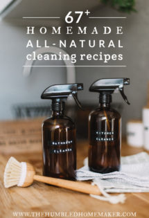 Clean anything in your home with this giant list of DIY homemade, all-natural cleaning recipes! This is the fresh and fun way to enjoy a healthier home...and maybe even enjoy cleaning a little more, too!