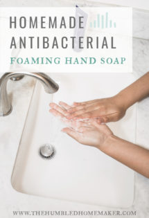 Learn how to make a safe antibacterial foaming hand soap. Besides being void of the harmful triclosan found in conventional, store-bought antibacterial soaps, this soap recipe is easy, frugal and 100% natural!