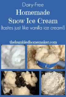 This homemade snow ice cream tastes JUST like real vanilla ice cream--and it's dairy-free to boot! It's such a fun, seasonal winter treat!