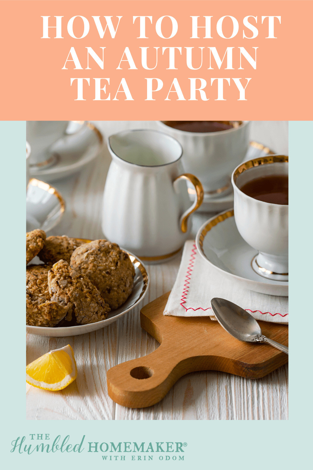 Host an autumn tea party with these fall tea party menu ideas, pretty place settings, and a recipe for gluten-free apple cake. It's tea time!