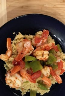 Mediterranean Quinoa with Shrimp! Ready to eat!