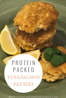 Over the years, salmon or tuna patties have become one of my favorite, quick and easy protein-rich meals. Salmon and tuna are interchangeable in this recipe, so take your pick of whichever one you prefer!