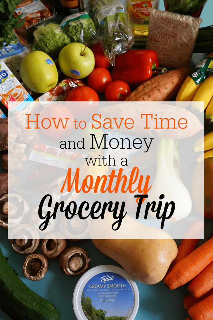 I save time and money on groceries by making just one grocery shopping trip per month, rather than shopping every week. Here's my system!
