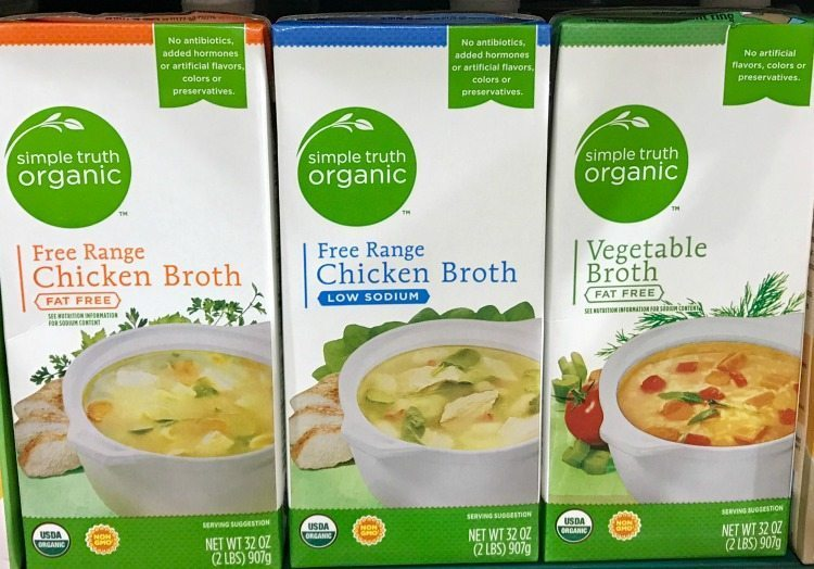 Organic chicken and vegetable broth is available at Kroger.
