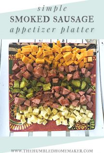 If you're looking for a quick and easy appetizer to take to your next friend or family gathering, then I have the perfect recipe for you! I have partnered with Eckrich Smoked Sausage to bring you a beautiful Smoked Sausage Appetizer Platter.