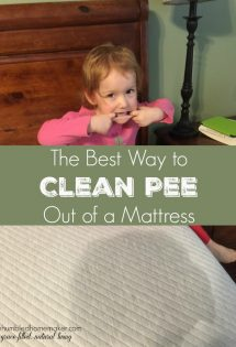 With three young children, we've dealt with our fair share of bedwetting accidents over the past the past 7 1/2 years. Thankfully, we've now learned the very best way to clean pee out of a mattress. Urine odors and stains (for the most part) don't have to ruin mattresses forever!