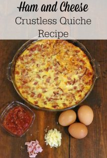 This ham and cheese crustless quiche recipe is incredibly easy to make, and it will be a hit with your family! Perfect for a fast holiday dish, it can also be served for breakfast, brunch, or even dinner all year long!#EasyBreakfast #BreakfastRecipe #BrunchRecipe