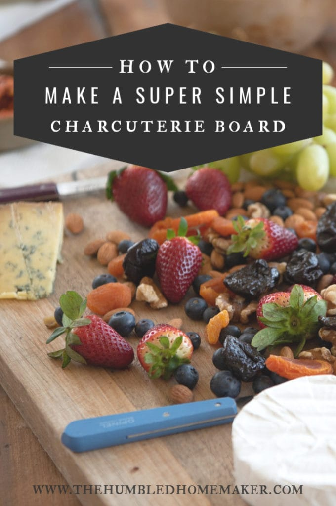 Charcuterie boards don't have to be complicated, time-consuming, or even expensive. I hope that this post on how to make a super simple charcuterie board will give you the confidence to take one to your next gathering!