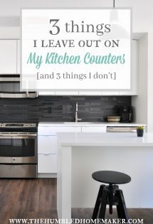 Katie likes to keep a simple, uncluttered kitchen. Here are 3 things she leaves out on her kitchen counters, and 3 things she stashes away in cabinets. #Kitchen #Declutter #HomeOrganization