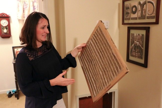 looking at a disgusting, dirty air filter