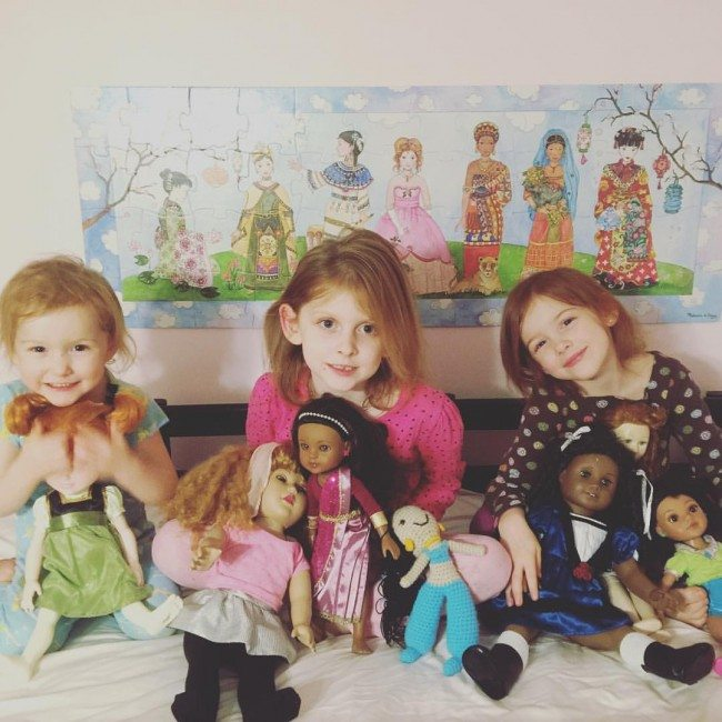 my girls with their favorite dolls