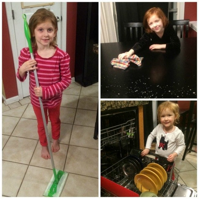 Children helping with household chores.