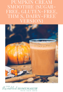This pumpkin cream smoothie is gluten-free, dairy-free and sugar-free. It's the perfect holiday treat--whether it be to celebrate fall, Thanksgiving or Christmas! It's also healthy enough to be breakfast!