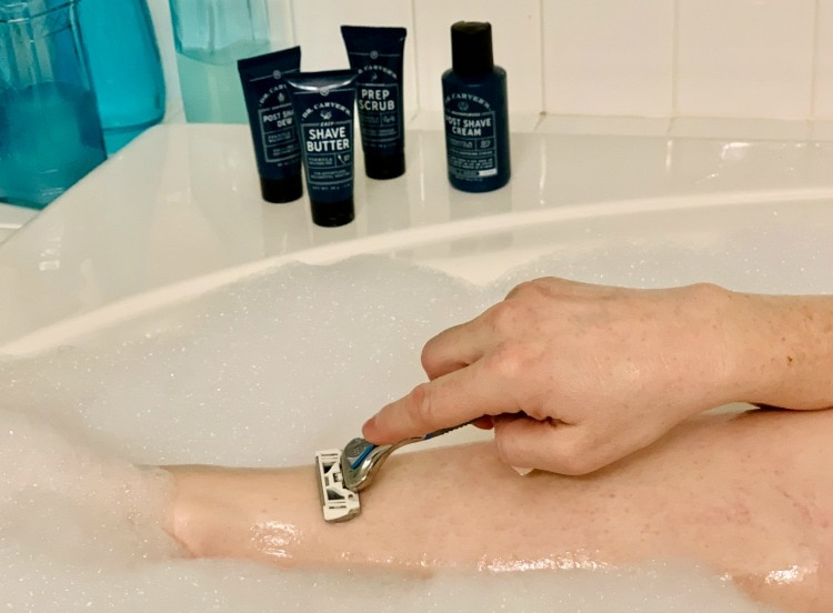 shaving legs with Dollar Shave Club razor-2
