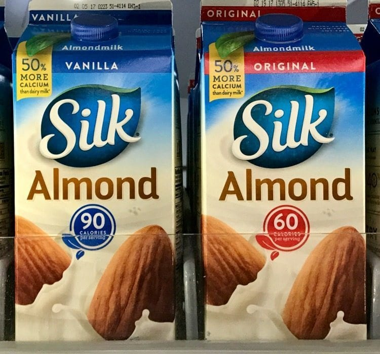 Shopping for healthy food at Kroger, like Silk Almond Milk.