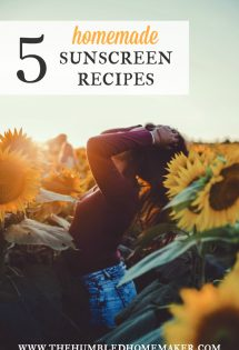Making your own sunscreen is both frugal and healthy. Conventional sunscreens are full of toxins; homemade sunscreen is always best! Here are 5 awesome homemade sunscreen recipes!