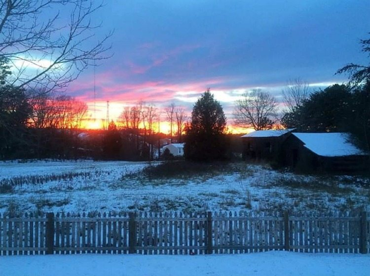 sunset over the snow